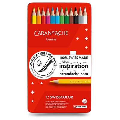 Caran D'ache Swisscolor Water Soluble Colour Pencils In Metal Tin Box Set of 12