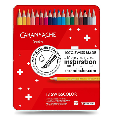 Caran D'ache Swisscolor Water Soluble Colour Pencils In Metal Tin Box Set of 18