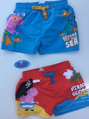 Boys Swim Shorts with Peppa Pig George detail 18-24 months, 2-3 years, 3-4 years