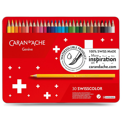 Caran D'ache Swisscolor Water Soluble Colour Pencils In Metal Tin Box Set of 30