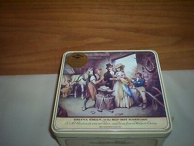 Vintage Carrs Gretna Green Red Hot Marriage English Biscuit 3lb4oz Collector Tin