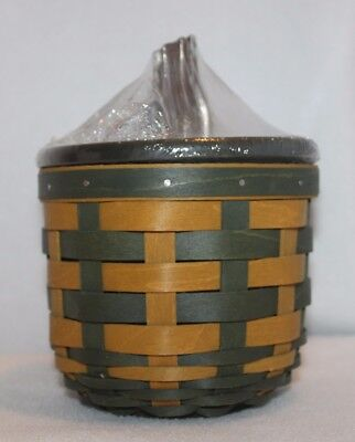 Longaberger 2016 Green Gold Gourd Basket Protector and Bold Green Lid with Stem
