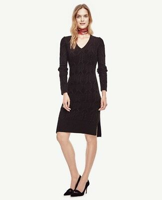 NWT ANN TAYLOR Cable V Neck Long Sleeve Sweater Dress  $149.00  Black