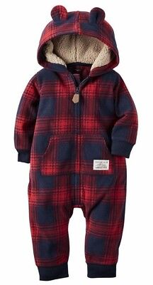 Carter's Baby Boys Fleece Hooded Romper Jumpsuit (Variety) (6/12/18/24 Mo.)*NWT*