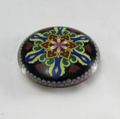 """Vintage Chinese Cloisonne Round Covered Trinket Box 3.25"""""""