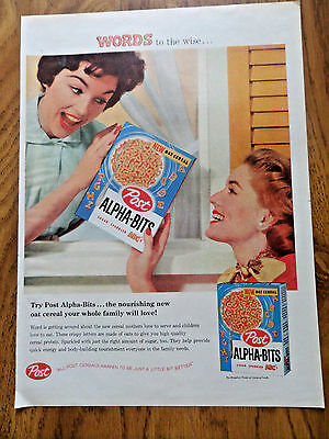 1958 Post Cereal Ad Alpha-Bits  Words to the Wise