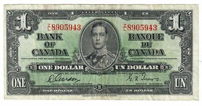 1937 Bank Of Canada Banque Du Canada $1 One Dollar Note Gordon/towers
