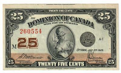 1923 Dominion Of Canada Twenty Five Cent 25C Note Shin Plaster Choice Xf/au