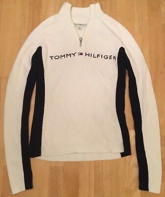 Vtg Style Tommy Hilfiger Spell Out Logo Half Zip Pullover Ivory Navy Women Small