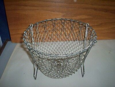 "Vintage Mesh Collapsible Strainer Basket : Made in France 9"" Diameter by 5 3/4"""