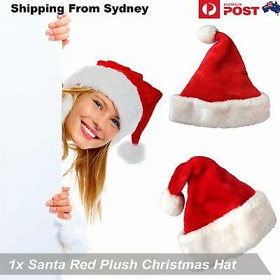 1Pc Santa Red Plush Christmas Hat Cap Adult  Holiday Costume Headgear Party Hats
