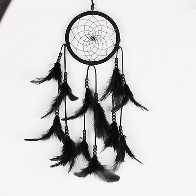 Handmade Dream Catcher Circular With feathers Hanging Decoration Craft Black