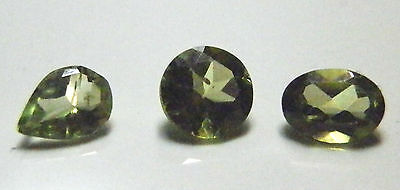 Pear Round & Oval cut green peridot natural gemstones..2.34 Carat total