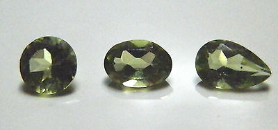 Pear Round & Oval cut green peridot natural gemstones..2.48 Carat total