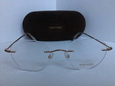 924bfd8fc41 New Tom Ford TF 5340 TF5340 028 50mm Rx Rimless Round Gold Eyeglasses Frame