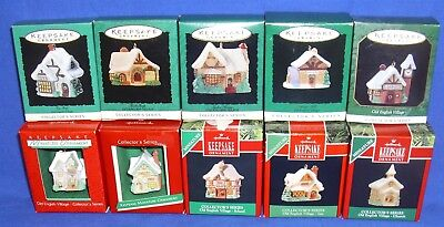Complete Hallmark Miniature Ornament Series Old English Village Lot of 10 NIB