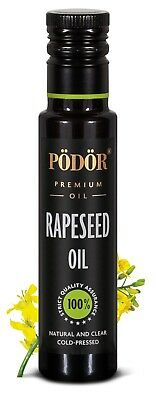 Podor Premium Cold-Pressed Rapeseed Oil in dark bottle 100ml, Nature and Clear
