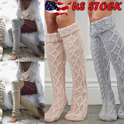 US Women Crochet Knitted stocking Leg Warmers Boot Cover Lace Trim Legging Socks