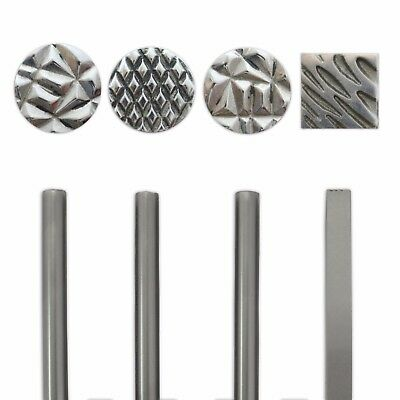 4 Texturing cross lines shaped design punches stamp punch jewellers craft tools