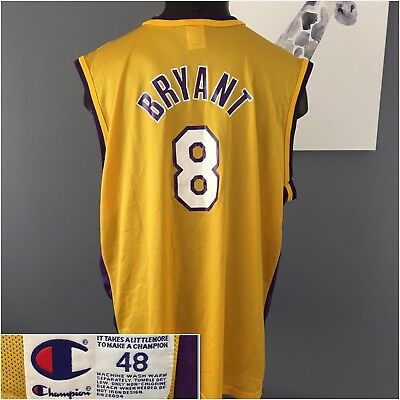 a6f813615 RARE Vintage Champion Los Angeles Lakers Kobe Bryant 8 Rookie Jersey Mens  48 XL