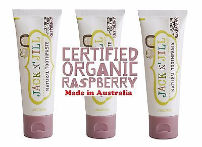 Jack n Jill Toothpaste made from all natural ingredients'' Organic RASPBERRY x 3