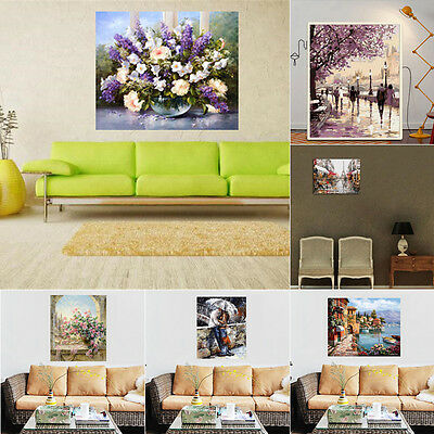 "Frameless Canvas DIY Digital Oil Painting Kit Paint by Numbers Decor 20x16"" AU"