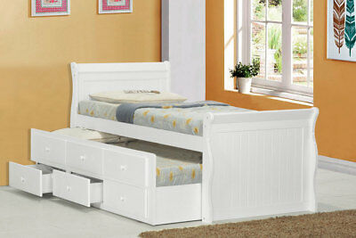 White or Oak Wooden Captain Kids Bed with Guest Trundle and Storage Drawers