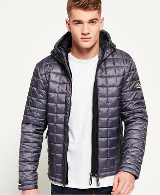 New Mens Superdry Box Quilt Fuji Hoode Charcoal Marl