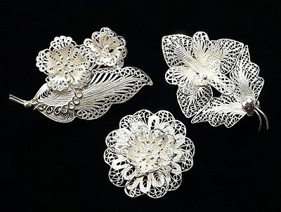 Vintage Sterling Filigree Flower Brooches Handcrafted Silver Pins