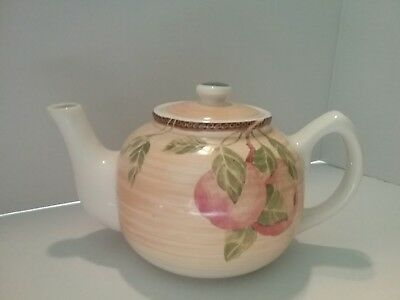 A Ceramic Teapot With  Lid, Dressed In Fruits And Vines: Jay Import Company.