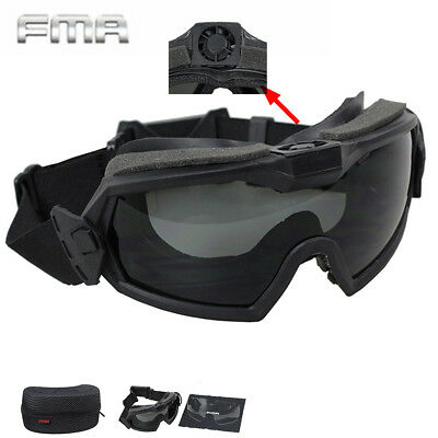 FMA Airsoft With Fan & 2 Lens Goggle Paintball Anti-Fog Eye Protective Regulator