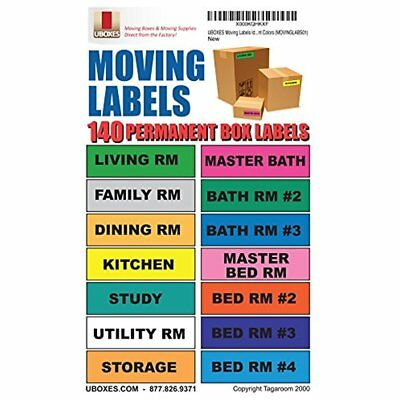 "UBOXES Moving Box Mailers Labels Identify Contents With 140 Labels, 4.5 1"" Each"