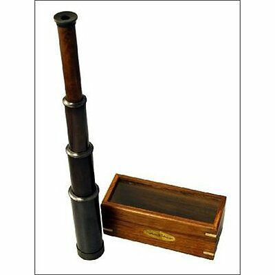 """15"""" Hand Categories Held Antique BLACK Finish Brass Telescope With Wood Box"""
