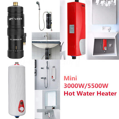 5500W Kitchen Bathroom Instant Electric Hot Water Tankless Tap Faucet Heater New
