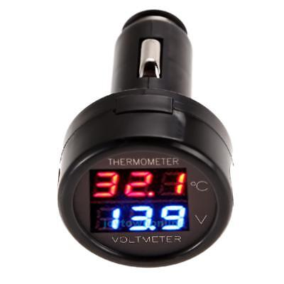 Car Auto 12V Red Green Dual Display LED Digital Thermometer Voltmeter Meter