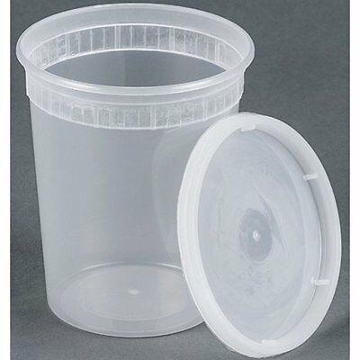 25 Sets Disposable Food Storage 32oz Plastic Soup/Food Container With Lids