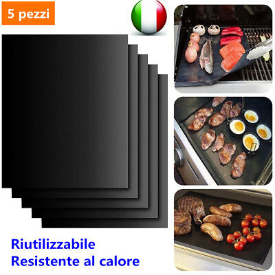5x BBQ Grill Mat Reusable Resistant Non-Stick Barbecue Baking Sheet Cooking IT