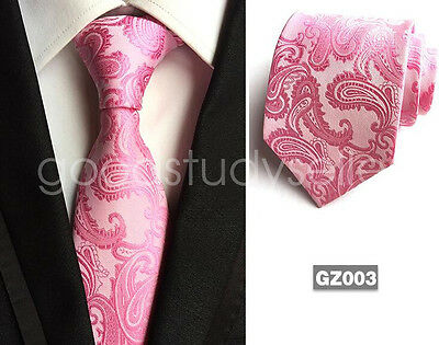 Pink Mens Tie Necktie Wedding Fashion JACQUARD WOVEN Tie Party gift