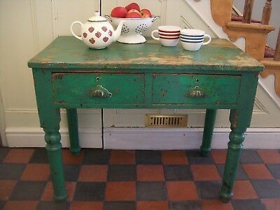 Antique Victorian Kitchen / Dining / Hall / Console Table,Vintage Green,2 Drawer
