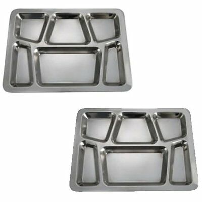 SET OF Compartment Cafeteria Food Tray, Eating Mess Stainless Steel