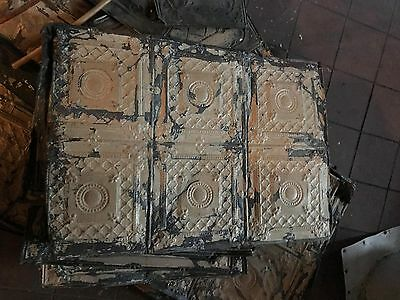 "Reclaimed Antique Tin 24"" X 48"" Architectural Salvage Pressed Ceiling Tiles"