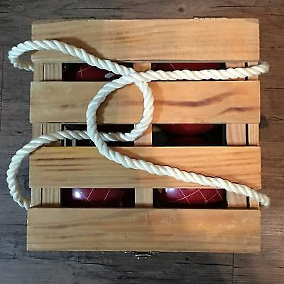 BOCCE BALL SET Sport Craft Heritage Green Red Wooden Case Rope Handles