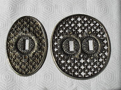 Vintage Brass Oval Single & Double Switch Flower Cover Plates With Chain Link