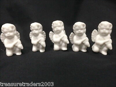 ♡ Movitex 5 White Porcelain Angels Playing Violin Figurines