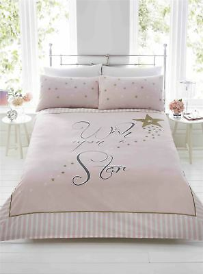 Wish Upon A Star Pink Gold White Girly Magical Striped Bedding Duvet Set