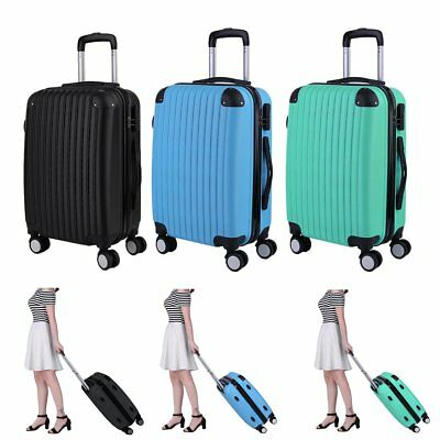 "20"" 24"" 28"" Lightweight 4 Wheel Hard Shell Suitcase Spinner Wheel Luggage Case"