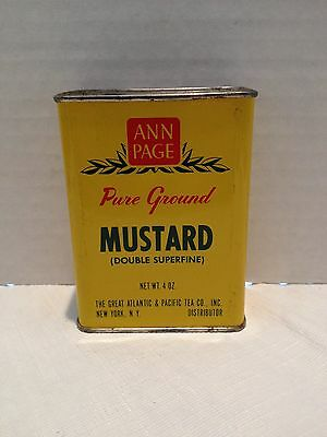 Vintage Ann Page 4 OZ. Pure Ground Mustard Tin - The Great A & P Tea Co.