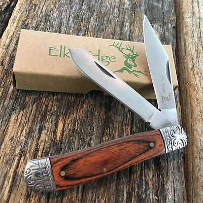 ELK RIDGE WOOD GENTLEMAN'S 2 Blade Folding Pocket Knife Fancy Bolsters ER-220DB