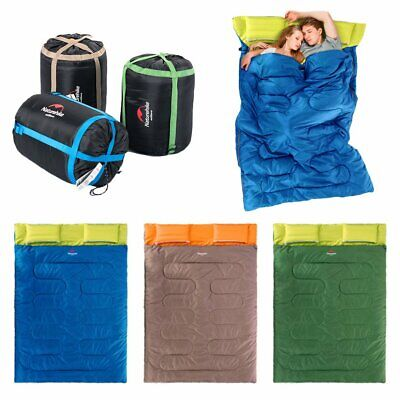 """Huge Double Sleeping Bag 23F/-5C 2 Person Camping Hiking 86""""x60"""" W/2 Pillows HS"""