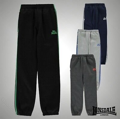 New Junior Boys Lonsdale Logo 2 Stripe Closed Hem Jogging Bottoms Size Age 7-13